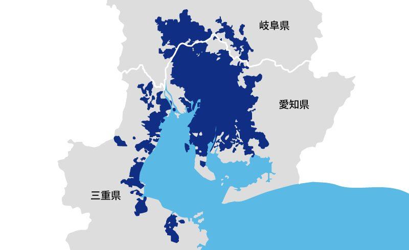 東海地域の楽天ガス対応エリア