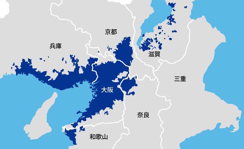 関西地域の楽天ガス対応エリア