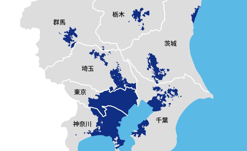 関東地方の楽天ガス対応エリア