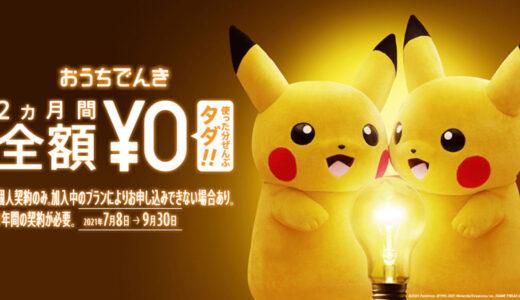 【〜9/30】おうちでんきの最新キャンペーン情報|2ヶ月間電気代がタダに!